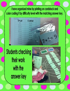 True or False Equation Sort First Grade Activity (Common Core Aligned)