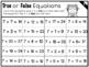 True or False Equations (Addition) 1-20