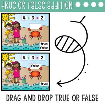 True or False Equations Addition & Subtraction to 10 Digital using Google Slides
