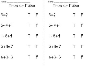 True or False Equations - Quick Check - Addition and Subtraction Worksheets