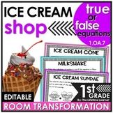 True or False Equations First Grade   Ice Cream Room Trans