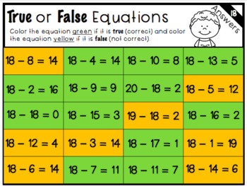 True or False Equations (Subtraction) 1-20