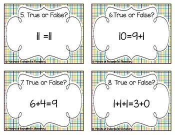 True or False Equations Task Cards: Grade 1 CC: Operations & Algebraic Thinking