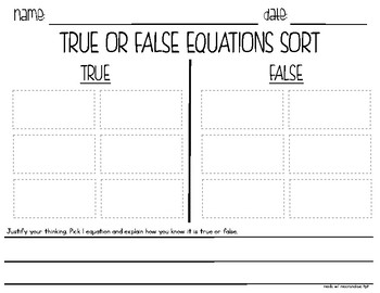 Equations Understanding Equal Signs {True or False}