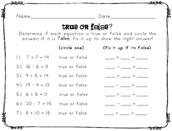 True or False Equations Worksheet by Learning a Latte in First | TpT
