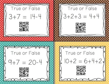 True or False Equations with QR Codes