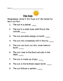 True or False Facts about the Sun