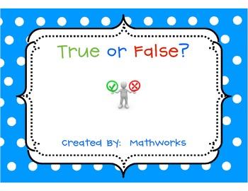 True or False?  First Grade Equations