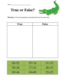 True or False Greater Than, Less Than