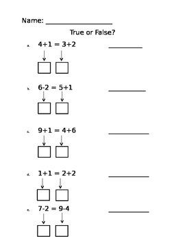 True or False Math Equations