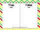 Back to School Themed True or False Math Equations Challenge 1.OA.7