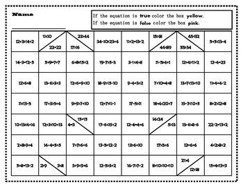 True or False Math Equations Hidden Pictures