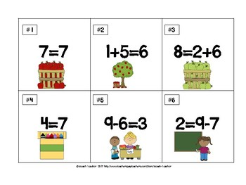Back to School Themed True or False Math Equations 1.OA.7
