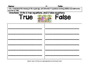 Summer Themed True or False Math Equations
