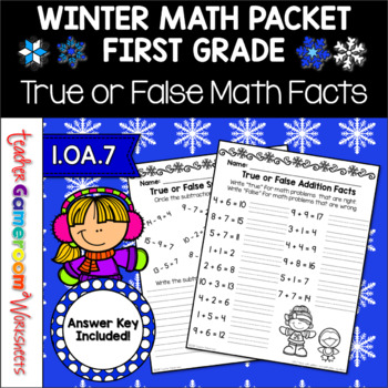 True or False Math Facts Worksheets - 1.OA.7