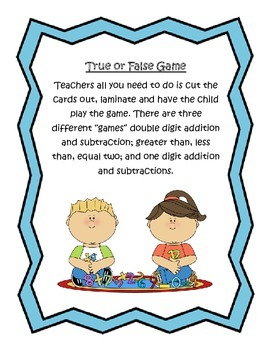 True or False Math Game