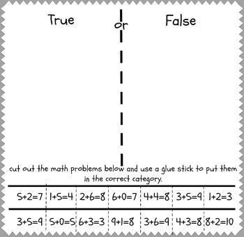 True or False Math Problem Cut and Paste