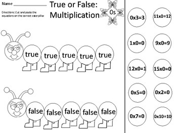 True or False Multiplication