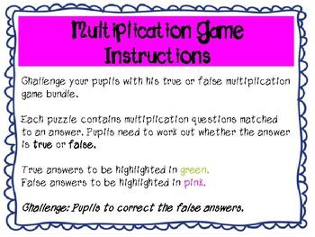 True or False Multiplication Game 1 - 12x tables
