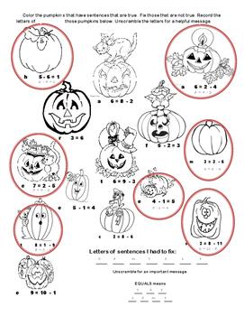 True or False? Pumpkin Subtraction Sentences