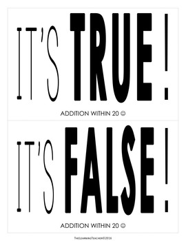 True or False Sort: Addition Within 20