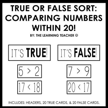 True or False Sort: Comparing Numbers Within 20