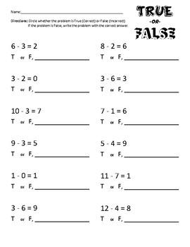 True or False - Subtraction