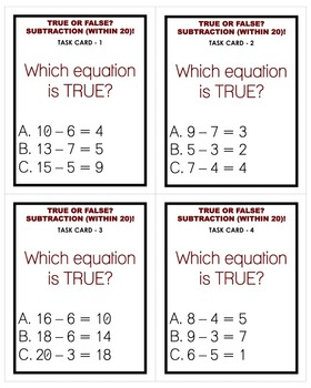 True or False? Subtraction (Within 20) Task Cards