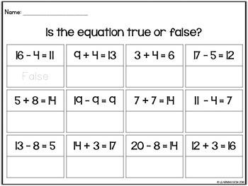 True or False Equation Task Cards