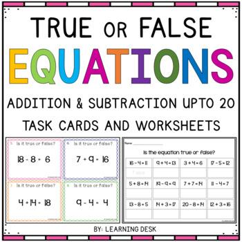 True False Equations Task Cards