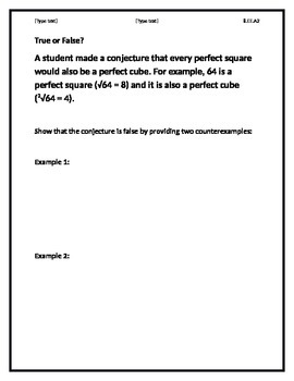 True or False? Task Square/Cube Roots 8.EE.2A
