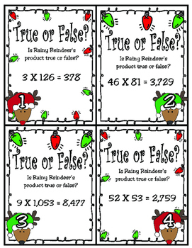True or False? Up to 4-Digit Multiplication (TEKS 4.4D)
