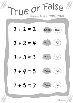 True or False ( addition and substraction 1-10)