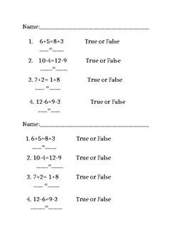 True or false equation exit ticket