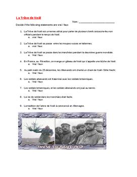True or false worksheet (9 questions)/ La Trêve de Noël