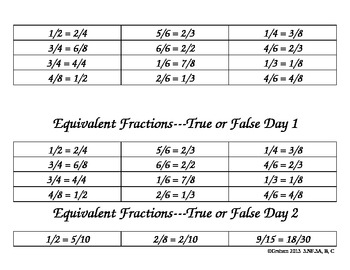 True/False Equivalent Fractions