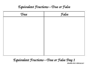 True/False Equivalent Fractions