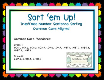True/False Number Sentence Sort: Sort 'em Up!