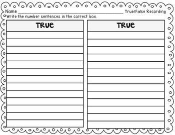 True/False Number Statements {addition, sorting center}