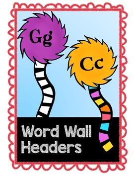 Truffula Inspired Word Wall Headers