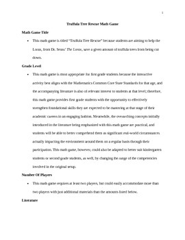 Truffula Tree Rescue Math Game