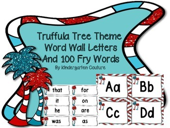 Truffula Tree Themed Word Wall Letters and 100 Fry Words