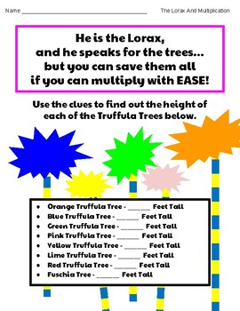 Truffula Trees- Lorax- Math Center- Grade 3