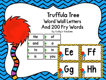 Truffula Word Wall And 200 Fry Words with editable word page