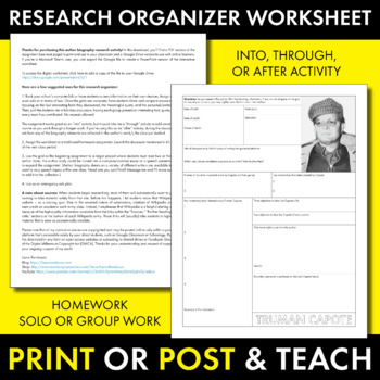 Truman Capote Author Study Worksheet, In Cold Blood, Easy Biography Activity, CC