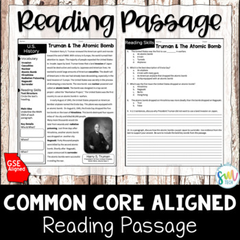 Truman and the Atomic Bomb Reading & Writing Activity (SS5H4c)