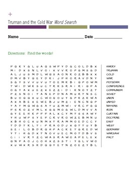 Truman and the Cold War Word Search