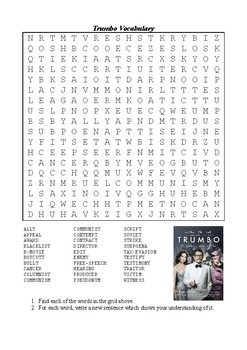 Trumbo (2015) Vocabulary Word Search