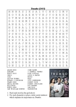 Trumbo (2015) - Word Search