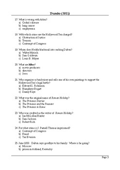 Trumbo - 50 Question Multiple Choice Quiz / Final Assessment